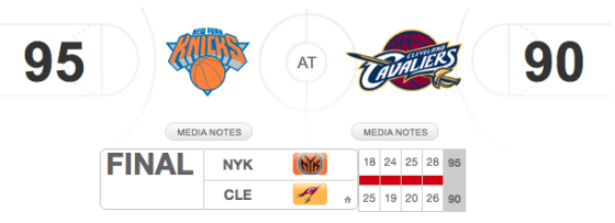 Cavaliers vs Knicks