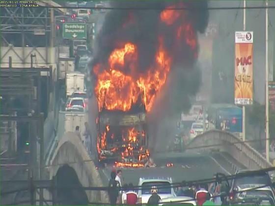 Burning bus in Ayala EDSA Makati
